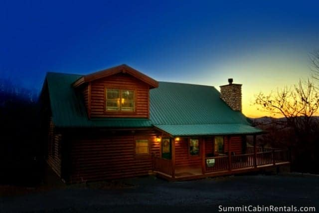 smoky mountain cabin at night